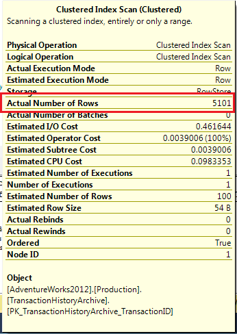 Actual Number of Rows = 5101 for Clustered Index Seek - Paging Function
