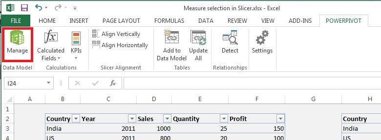 "Click on ""Manage"" PowerPivot"