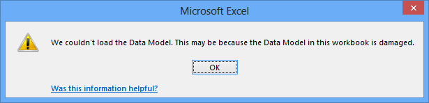 PowerPivot Error - Data Model may be damaged