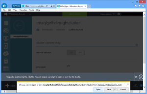 HDInsight:. Opening RDP file