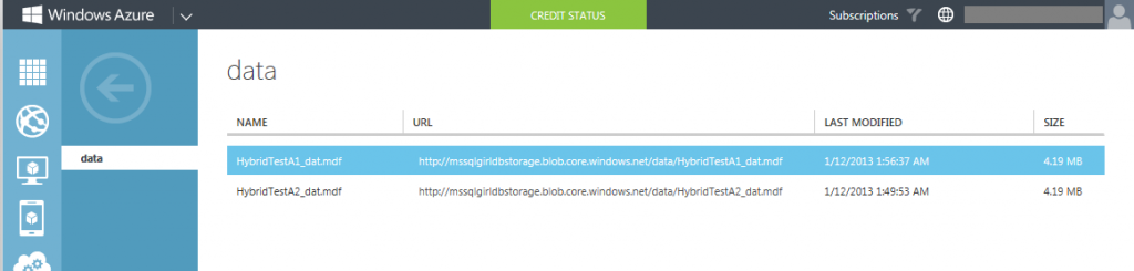 Data file stored on Windows Azure Storage Container